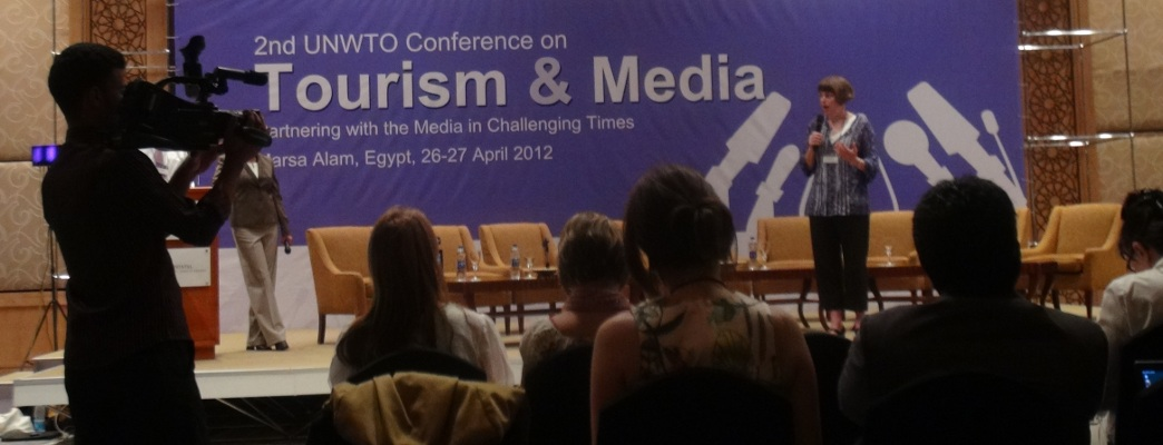 Erica Hargreave speaking at the UNWTO Conference in Marsa Alam.