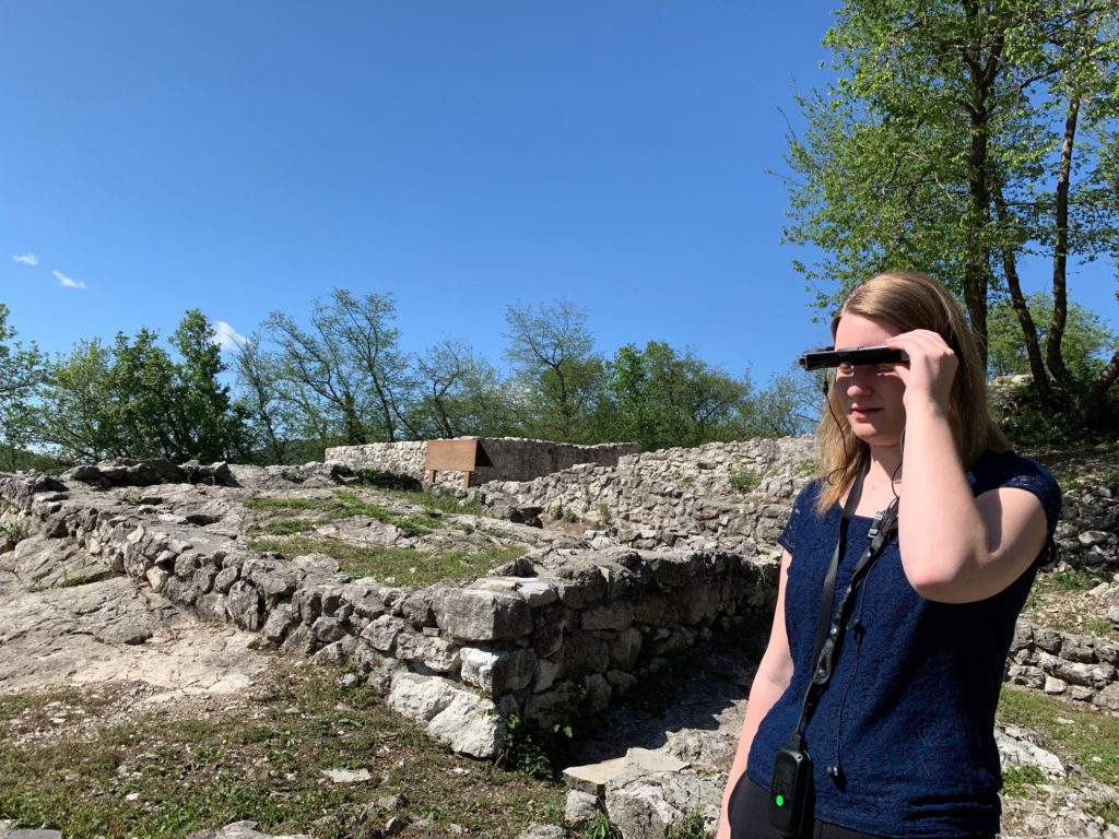 Testing out the Mixed Reality Experience at Tremona-Castello Archaeological Park in Ticino, Switzerland.